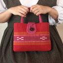 八重山ミンサー織り 丸ボタン留めトートバッグ 赤 レッド 蘇芳色 ピンク 石垣島産本場手織り 永遠の愛の証 みんさー織り