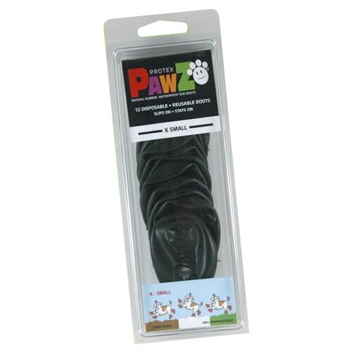 正規輸入品 アメリカ Pawz Dog Boots社製 ポウズ ラバー・ドッグ・ブーツ XS Black PZBLKXS【ペット ウエア】
