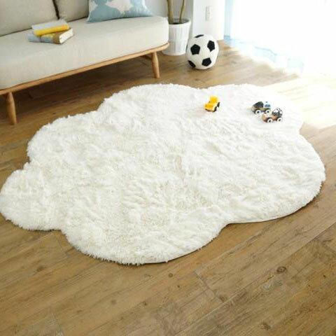 洗える雲ラグ!!ふわふわ雲型のおしゃれなシャギーラグ MOKUMOKU(モクモク) 130×170cm【敷物・カーテン】