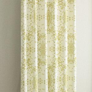 遮光カーテン リーフ柄 グリーン セリー 幅100cm×丈135cm2枚 北欧柄