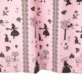 カーテン 北欧 アリス柄 遮光カーテン ピンク 幅100cm×丈230cm2枚組 即納