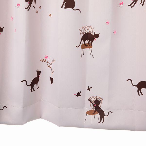 カーテン 猫柄 遮光カーテン p 幅100cm×丈80〜120cm2枚 kk375p 納期10日程度