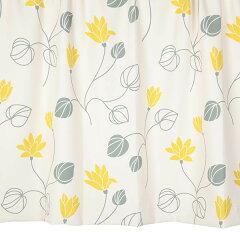 オーダーカーテン花柄イエロー幅150cm×丈205~240cm2枚kk413ye納期10日程度北欧