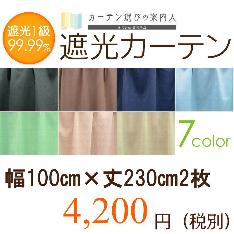 1級遮光カーテン 幅100cm×丈230cm2枚 丈直しOK(有料)