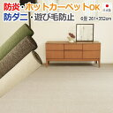 カーペット 6畳 6帖 六畳 じゅうたん 日本製 ラグカーペット ラグマット 国産カーペット フリーカット 防炎カーペット 防ダニカーペット 絨毯6畳 ジュータン 床暖対応 リビング ラグ 寝室 グリーン アイボリー ブラウン LE (S)
