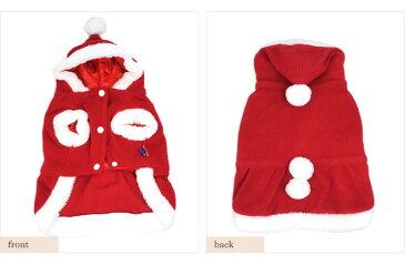 【犬服】もこもこサンタクロース コスチューム フード ワンピース アウター クリスマス ドッグウェア 小型犬用 秋冬 【pet5】【ゆうパケット対応商品】【RCP】