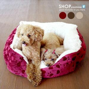【犬 ベッド】 シープボア 肉球足あと柄 Lサイズ ペットソファ ペットベット 犬 猫 ベッド ソファー 暖か 秋冬 小型犬用 多頭