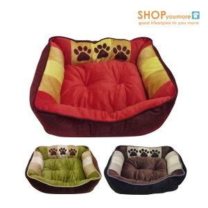 【犬 ベッド】 ボア 3足跡柄 クッション Lサイズ 犬 猫 ベッド ソファー 暖か 秋冬 小型犬用