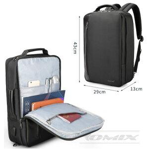 Tigernu リュック ビジネスバックパック 撥水 3way USB 充電ポート 通勤 出張 旅行 通学 メンズ 15.6インチ対応
