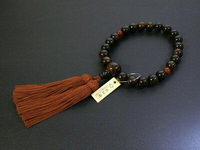 『縞黒檀』22玉片手念珠(数珠)正絹頭房瑪瑙仕立て(桐箱入り)