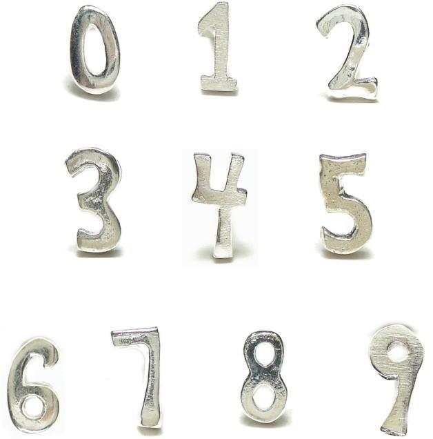 バラ売りシルバーピアス 数字 ナンバー スタッドピアス a442-a451 シルバー925 silver925 シルバーアクセサリー レディースピアス メンズピアス ラッキーナンバー