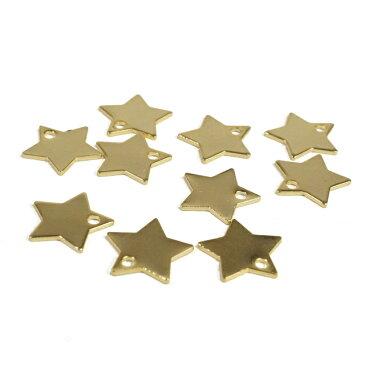 穴が中に型抜きされたスター 星 ゴールド シルバー プレート 10個1セット アクセサリーパーツ 手作り ハンドメイド 材料