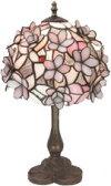 ステンドランプ立体ピンク花直径18.5cm高さ39cm(ST-4407B3)