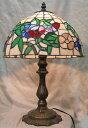 ステンドグラス ランプ三色花(シェード直径31cm高さ46cm) テーブルランプ ティファニー風