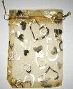 ユカワファニチュアで買える「ギフト ・ 包装 用 オーガンジー 巾着 袋 9cmx12cm (10枚セット, イエロー地にハート柄」の画像です。価格は590円になります。