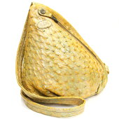 イビザショルダーバッグイエローオーストリッチ中古黄色斜めがけ三角ショルダーボディバッグ特注IBIZA