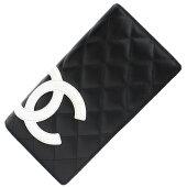 ※値段マチシャネル二つ折り長財布カンボンラインA26717ブラックホワイトカーフレザー中古マトラッセココマークキルティングCHANEL