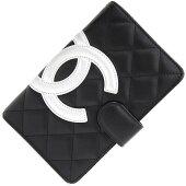 ★★★シャネル二つ折り財布カンボンA50080ブラックシルバーレザー中古黒女性ココマークCHANEL