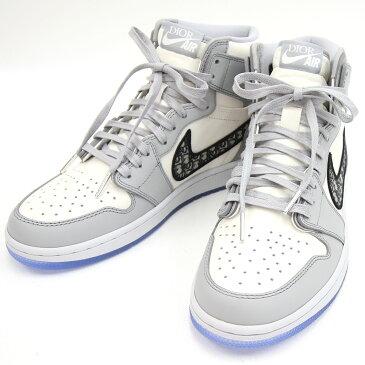 ディオール メンズシューズ ナイキ Air Jordan 1 High OG Dior CN8607-002 US8 26cm ホワイト グレー 新品 未使用 ハイカット 靴 スニーカー トロッター オブリーク 男性 紳士 Dior Nike