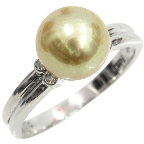 Pt900 パールリング 真珠 ダイヤモンド デザインリング ゴールド ゴールデンパール ダイヤ合計0.04ct 9.5号 中古 指輪 プラチナ   ゆびわ リング ダイヤ ダイヤリング ダイヤモンドリング 18金 レディース 女性 妻 誕生日 プレゼント ギフト 母の日 結婚記念日