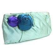 プラダクラッチバッグBP0177グリーンブルーパープルサテン中古パーティバッグプチバッグお花フラワーPRADA
