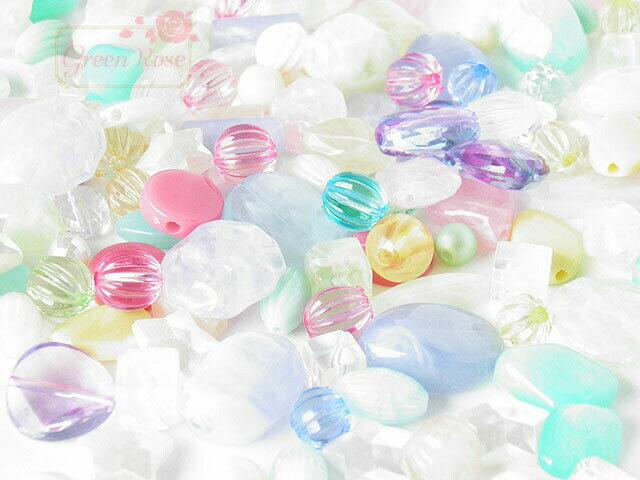 パステルカラービーズミックス 約100g /アクリル/プラスチック/アソート/ゆめかわ/樹脂/アクセサリー/パーツ/材料/beads575