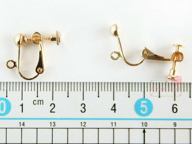 イヤリング金具 約100個 ネジバネ玉ブラ カン付 ゴールド /アクセサリー/パーツ/材料/kanagu223