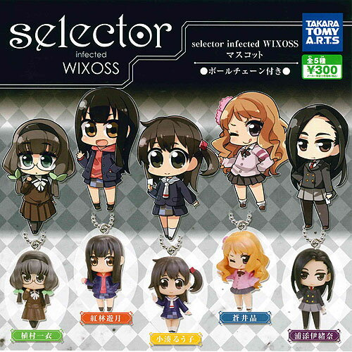 selector infected WIXOSS(セレクターインフェクテッドウィクロス)マスコット 全5種+ディスプレイ台紙セット タカラトミーアーツ ガチャポン画像