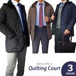 【送料無料】キルティングコートメンズ脱着式フード軽量中綿保温素材S/Mサイズ3Color