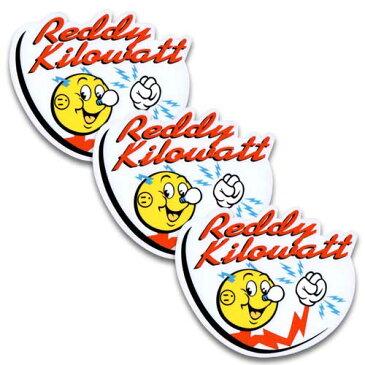 [メール便送料無料] ステッカー 3枚 セット / Reddy Kilowatt クリアタイプ レディキロワット アメリカン雑貨