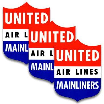 [メール便送料無料] ステッカー 3枚 セット / UNITED AIR LINES ユナイテッド航空 アメリカン雑貨