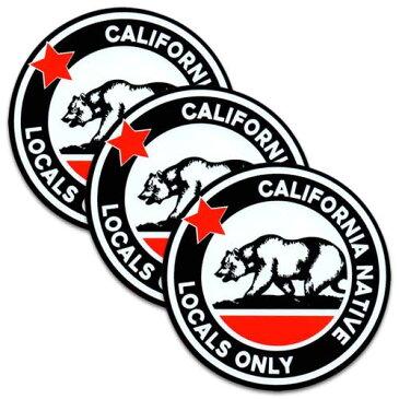 [メール便送料無料] ステッカー 3枚 セット / California Locals Only カリフォルニアローカルズオンリー アメリカン雑貨