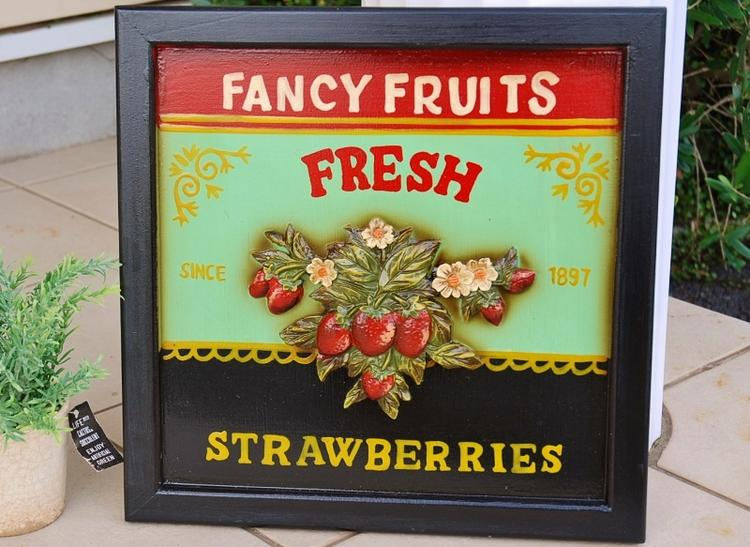あす楽】レトロ アンティーク調 Strawberry ストロベリー ボードアメリカン フレンチ カントリー 雑貨 イチゴ いちご インテリア雑貨 フレーム 苺 パネル