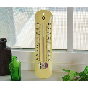 Tomorrow] Ordinary Thermometer Custard Yellow Showa Retro Style Antique Style Steel Old American French Country Interior Goods