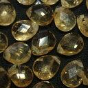 [HA016]天然石ビーズ/ジュエリーカット シトリン・フラットドロップカット クラックあり(訳あり) 約6×8mm 2ケ