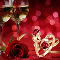 リングレディーススワロフスキーローズフラワーレッド薔薇バラ18Kゴールドメッキサイズフリーカジュアルかっこいい可愛い豪華ゴージャスジュエリーポーチ付き送料無料翌日発送就職入学祝い母の日2021春コーデ