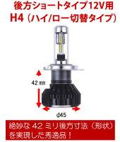 RGレーシングギアLEDヘッドライトバルブ品番:RGH-P766後方ショートタイプ12V用(バルブタイプ:H4切替)5500K