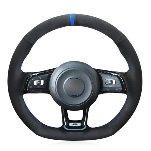 AL ステアリングホイールカバー 編み上げタイプ ブラックスウェード 適用: フォルクスワーゲン VW ゴルフ 7 GTI ゴルフ R MK7 VW ポロ GTI シロッコ 2015 2016 レッド 糸・ブルー 糸 AL-FF-0536