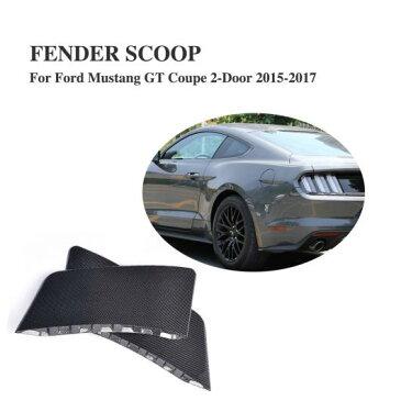 AL 車用外装パーツ カーボンファイバー リア フェンダー 装飾 トリム サイド スクープ 適用: フォード マスタング クーペ 2ドア 2015-2017 2個セット サイド フェンダー ステッカー AL-DD-8116