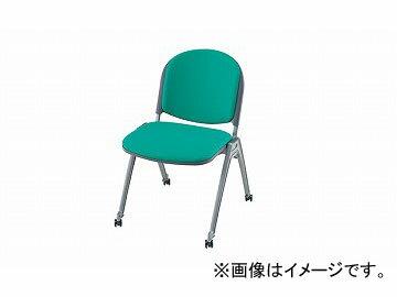 ナイキ/NAIKI会議用チェアー4本脚タイプ・キャスター付グリーンE255FC-GR495×585×767mm