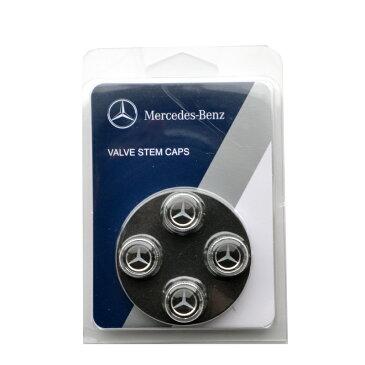 【メルセデスベンツ 直輸入純正品】 Mercedes Benz 全年式 全車種適合 エンブレム入りエアバルブキャップ ブラック