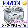 【570-901-076(E39)】バルタ(ファルタ) VARTA 欧州車用バッテリー 2年4万km保証12V70Ah CCA760A 278×175×190mm【コンビニ受取不可商品】