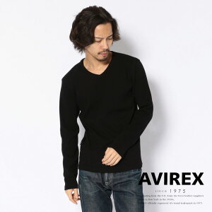 AVIREX 公式通販・DAILY WEAR | ミニワッフル 長袖 Vネック Tシャツ/MINI WAFFLE T-SHIRT(アビレックス アヴィレックス)メンズ 男性
