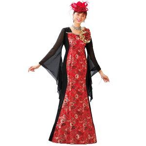 4059ca7274ec3  ロングドレス 切替マーメイドドレス OP379-3431▽カラードレス カラオケ ステージ マキシ丈 赤ドレス スパンコール 発表会 衣装 コーラス