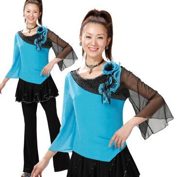 【ダンス衣装】配色プルオーバー コサージュ付 黒xブルー TK2182-1-2713 ▼コーラス 合唱 フォーマル