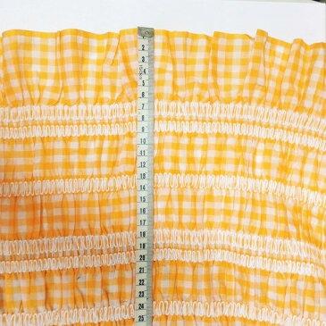 【送料無料】ヨーロッパ輸入生地コットンレース 可愛い同色の花が付いたオレンジのギンガムチェック柄 10−27 110x90