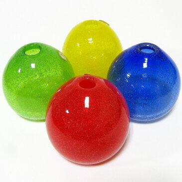 「琉球ガラス」 泡花一輪(オレンジ・黄色)