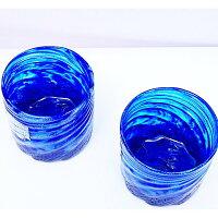 琉球ガラス:コバルトモールロックグラス(全2色):源河源吉 お中元