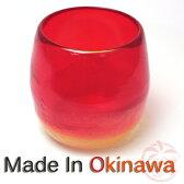 琉球ガラス泡ハーフタル型コップ 赤H80mm×W80mm琉球グラス グラス コップ 沖縄グラス カレット ペア ワイン ワイングラス セット ロックグラス 還暦祝い 名入れ ガラス おしゃれ バカラ ペアグラス
