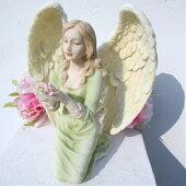 ≪天使雑貨*置物≫慈愛の天使【KneelingAngelWithFlower】